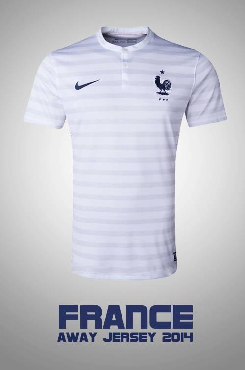 Mẫu áo bóng đá đội tuyển Pháp sân khách thi đấu World Cup 2014