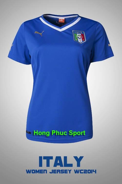 Áo nữ Ý 2014 sân nhà, áo fan nữ Ý xanh WC2014