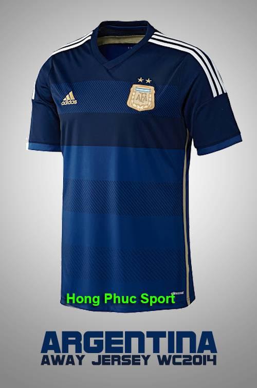 Hình ảnh mẫu áo bóng đá đội tuyển Argentina sân khách 2014 – Worldcup Brazil 2014