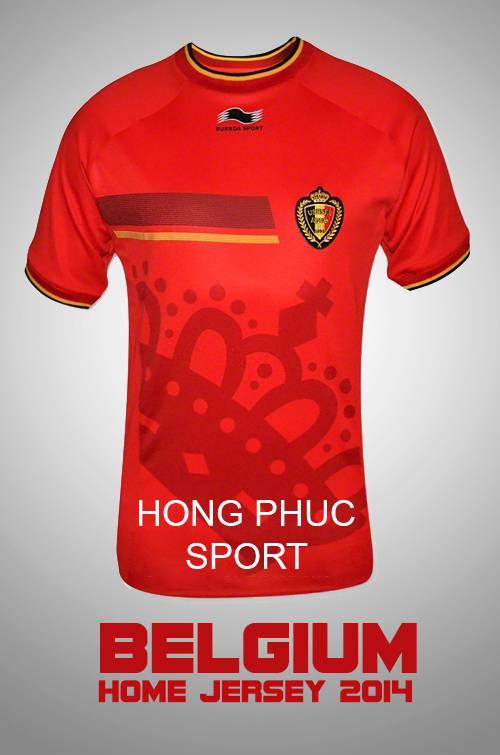 mẫu áo tuyển Bỉ Word Cup 2014 sân nhà