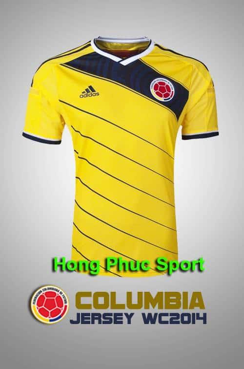 Mặt Trước Mẫu Áo Đá Bóng Đội Tuyển Colombia World Cup 2014