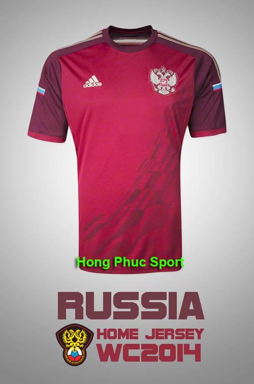 Mẫu áo bóng đá đội tuyển Nga thi đấu World Cup 2014