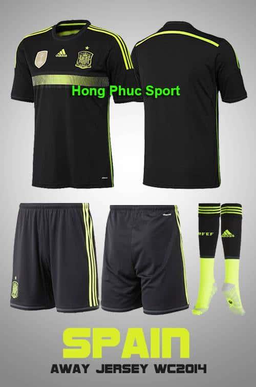 Bộ quần áo  đá bóng đội tuyển Tây Ban Nha thi đấu sân khách 2014