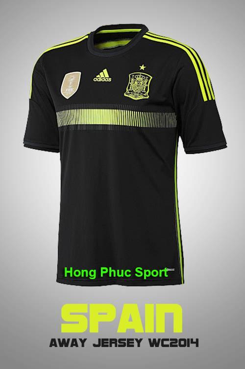Mặt trước mẫu áo đá bóng đội tuyển Tây Ban Nha thi đấu sân khách 2014