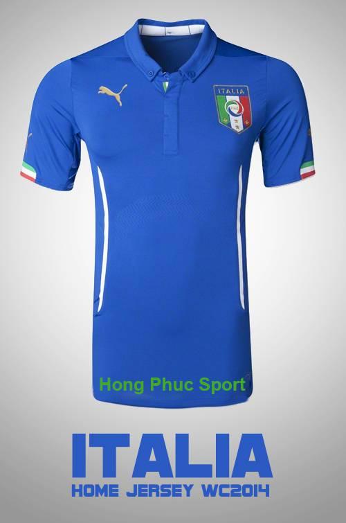 Mẫu áo bóng đá đội tuyển Italia sân nhà thi đấu Worldcup 2014