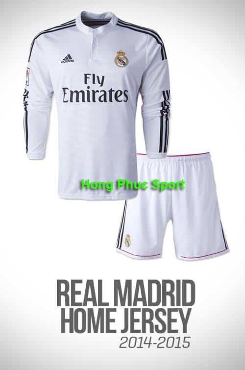 Bộ quần áo Real Madrid 2014-2015 sân nhà tay dài