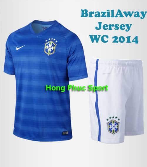 Bộ quần áo tuyển Brazil sân khách World Cup 2014