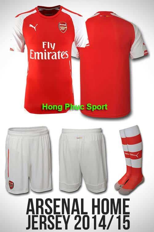 Bộ quần áo Arsenal 2014-2015 sân nhà