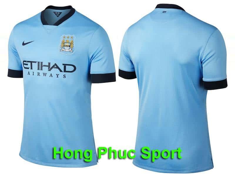 Mặt trước và mặt sau của mẫu áo Man City 2014 - 2015