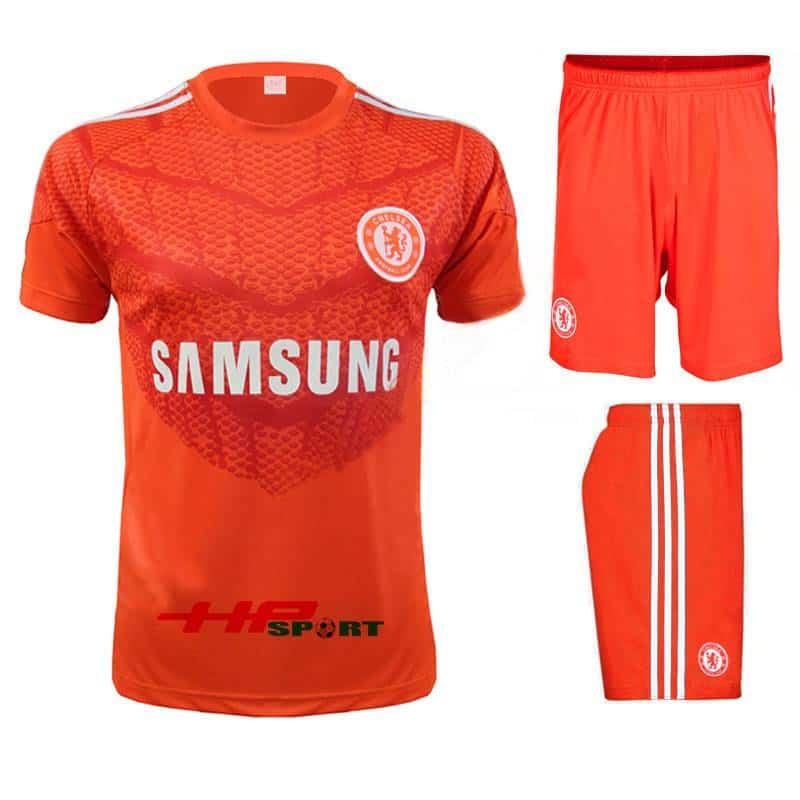 Bộ quần áo thủ môn Chelsea màu cam tay ngắn 2014/15