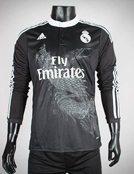 áo Real đen tay dài in hình rồng 2014-2015