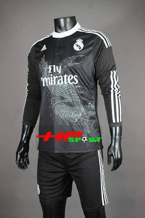 Đồ đá banh áo Real đen tay dài in hình rồng 2014-2015
