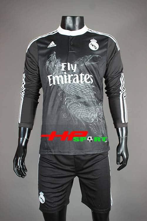 Bộ quần áo Real đen tay dài in hình rồng 2014-2015