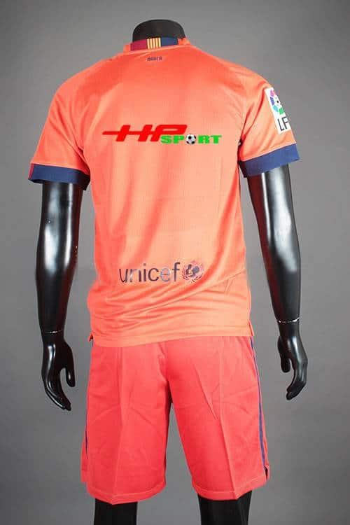 Mặt sau Bộ quần áo Barcelona màu cam 2014-2015 sân khác