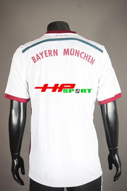 Mặt sau Bộ quần Áo Bayer Munich 2014-2015 sân khách màu trắng