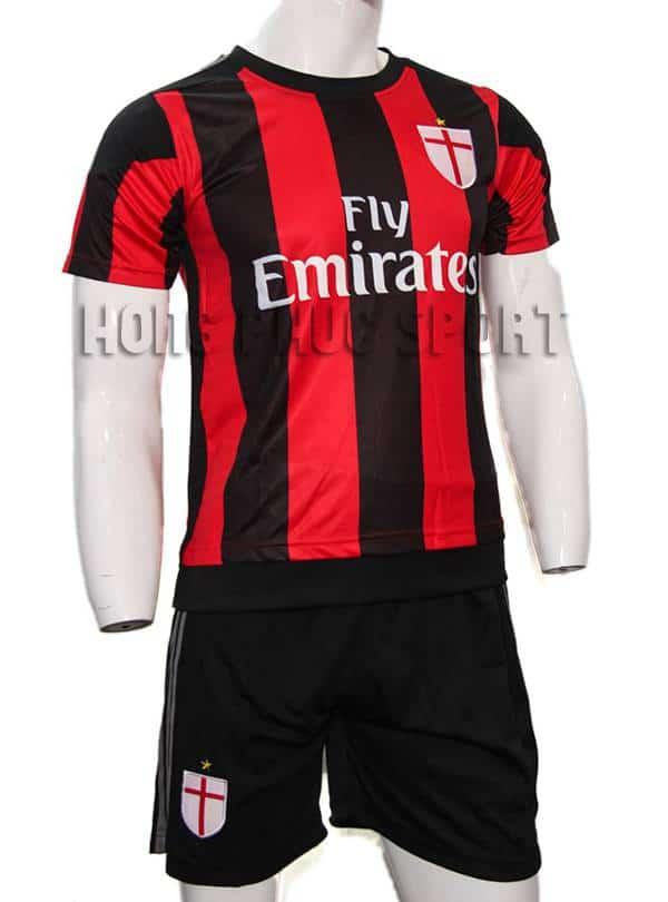 Bộ quần áo đá banh AC Milan 2015-2016 sân nhà màu sọc đỏ đen