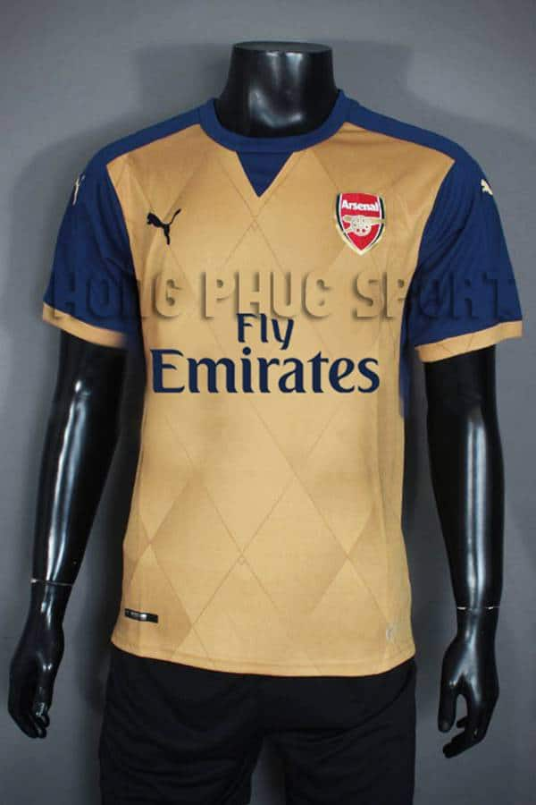 Bộ quần áo Arsenal vàng đồng 2015-2016 sân khách phiên bản 3D