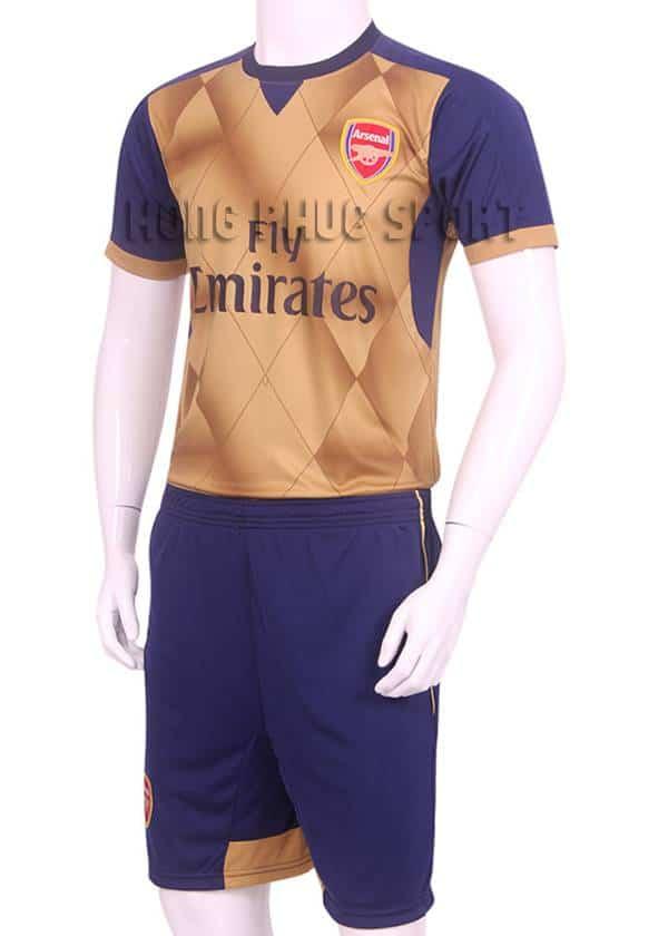 Đồ đá banh Arsenal 3D 2015-2016 sân khách màu vàng đồng