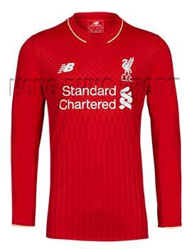 Quần áo đá banh Liverpool 2015-2016 sân nhà tay dài màu đỏ
