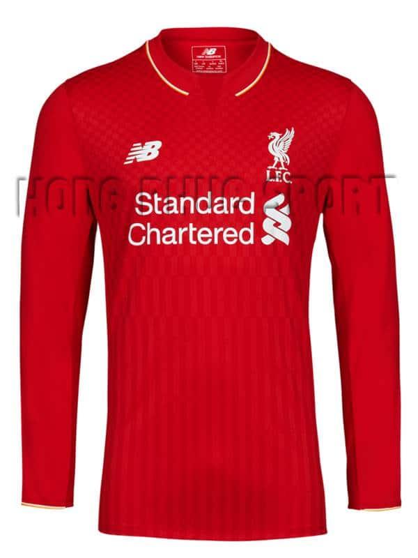 Bộ quần áo đá banh Liverpool 2015-2016 sân nhà tay dài màu đỏ
