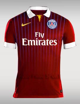Đồ đá banh Paris Saint-Germain 2015-2016 sân khách mẫu thứ 3 màu đỏ