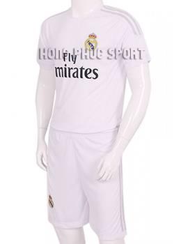 Mẫu áo đá banhReal Madrid 2015-2016 sân nhà màu trắng viền xám