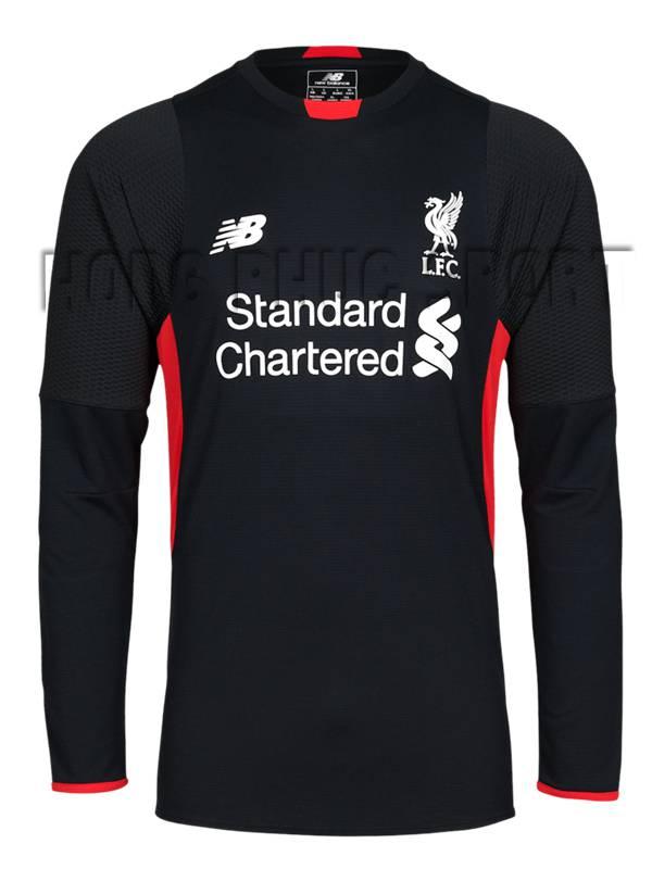 Bộ quần áo đá banh thủ môn Liverpool 2015-2106 màu đen tay dài