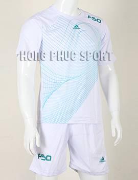 Mẫu áo đá banh Training F50 không logo 2015-2016 màu trắng