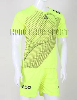 Mẫu áo đá banh Training F50 2015-2016 không logo màu xanh chuối