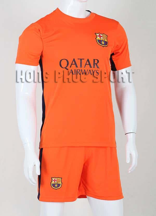 Bộ quần áo đá banh Barca màu cam 2015-2016 sân khách mẫu 3