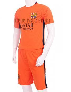Đồ đá banh Barcelona màu cam 2015-2016 sân khách mẫu 3