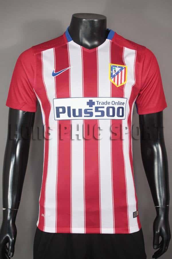 Bộ quần áo đá banh atletico madrid 2015-2016 sân nhà sọc đỏ trắng