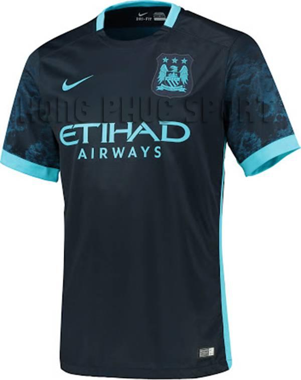 Bộ quần áo đá banh Manchester City 2015-2016 sân khách màu xanh tím than