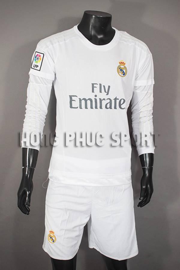 Bộ quần áo đá banh Real 2015-2016 sân nhà dài tay