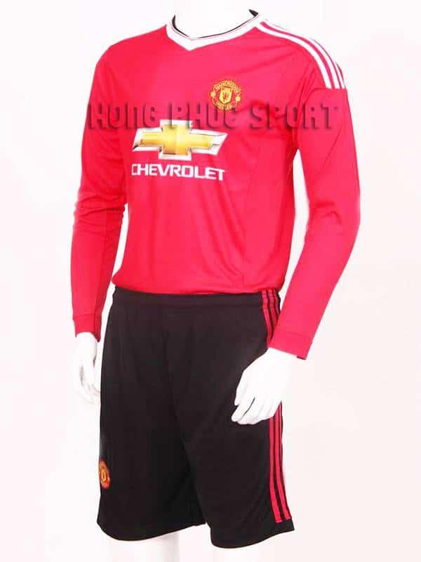 Mẫu áo đá banh Manchester United tay dài 2015-2016 sân nhà hàng Việt Nam
