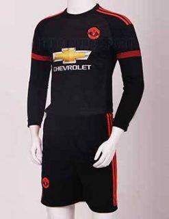 Mẫu quần áo đá banh MU tay dài 2015-2016 sân khách mẫu thứ 3 màu đen