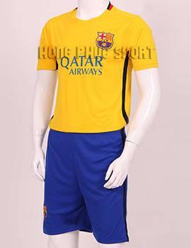 Đồ đá banh Barcelona 2015-2016 sân khách màu vàng