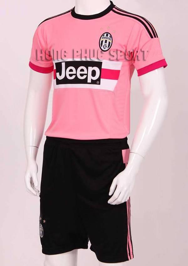 Đồ đá banh Juventus 2015-2016 sân khách màu hồng