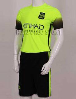 Mẫu áo đá banh Man City 2015-2016 xanh chuối thi đấu C1