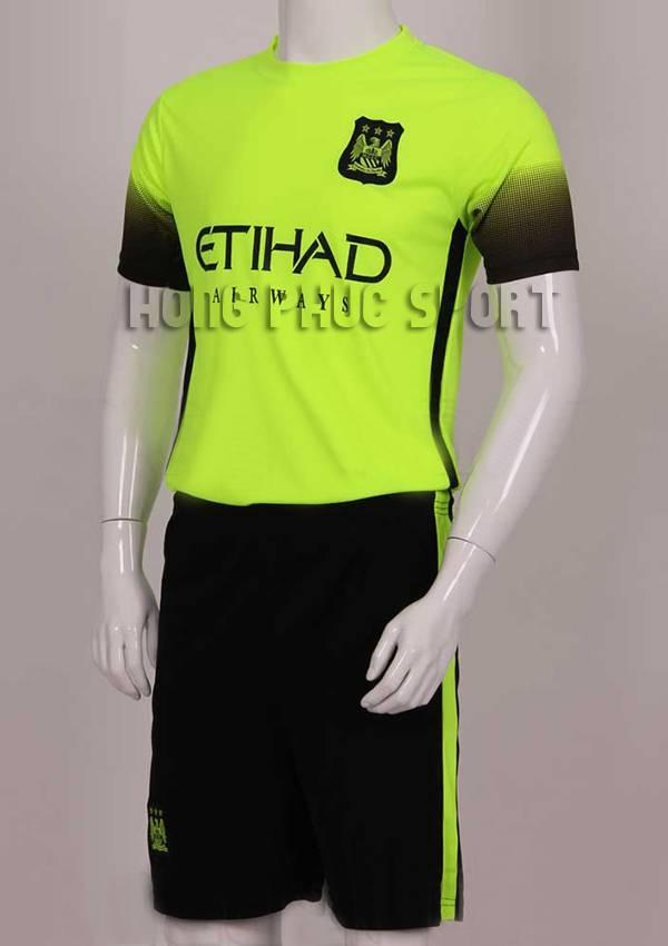 Đồ đá banh Man City 2015-2016 xanh chuối thi đấu C1