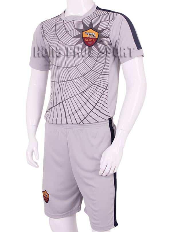 Mẫu áo tập AS Roma 2015-2016 màu xám in nhện