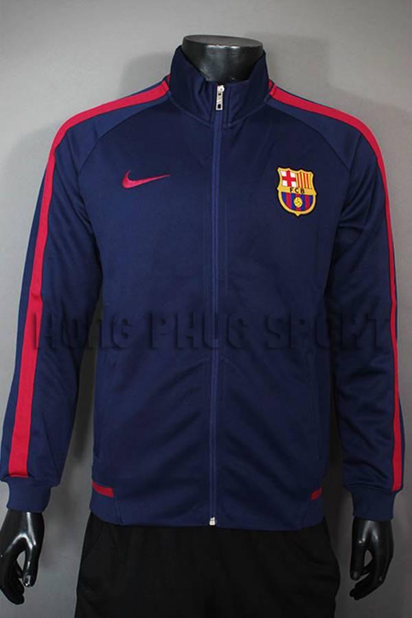 Mẫu áo khoác barcelona 2015-2016 xanh bích phối đỏ
