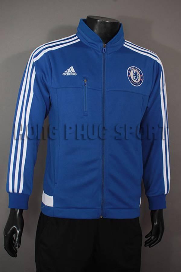 Mẫu áo khoác Chelsea 2015-2016 xanh viền trắng