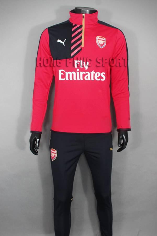 Áo khoác training Arsenal 2015-2016 đỏ phối đen