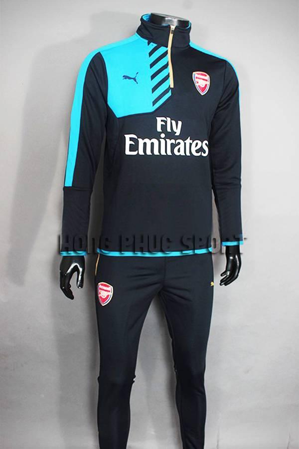 Mẫu áo khoác training Arsenal 2015-2016 đen phối xanh