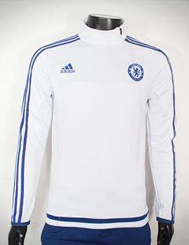 Áo khoác training Chelsea 2015-2016 trắng viền xanh
