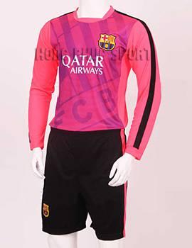 Mẫu áo tập tay dài Barca 2015-2016 màu hồng