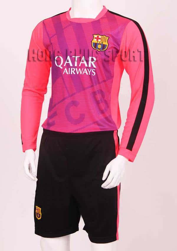Đồ đá banh áo tập tay dài Barca 2015-2016 màu hồng