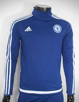 Mẫu quần áo khoác training Chelsea 2015-2016 trắng viền xanh