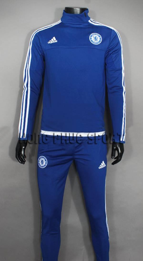 Bộ quần áo khoác training Chelsea 2015-2016 trắng viền xanh